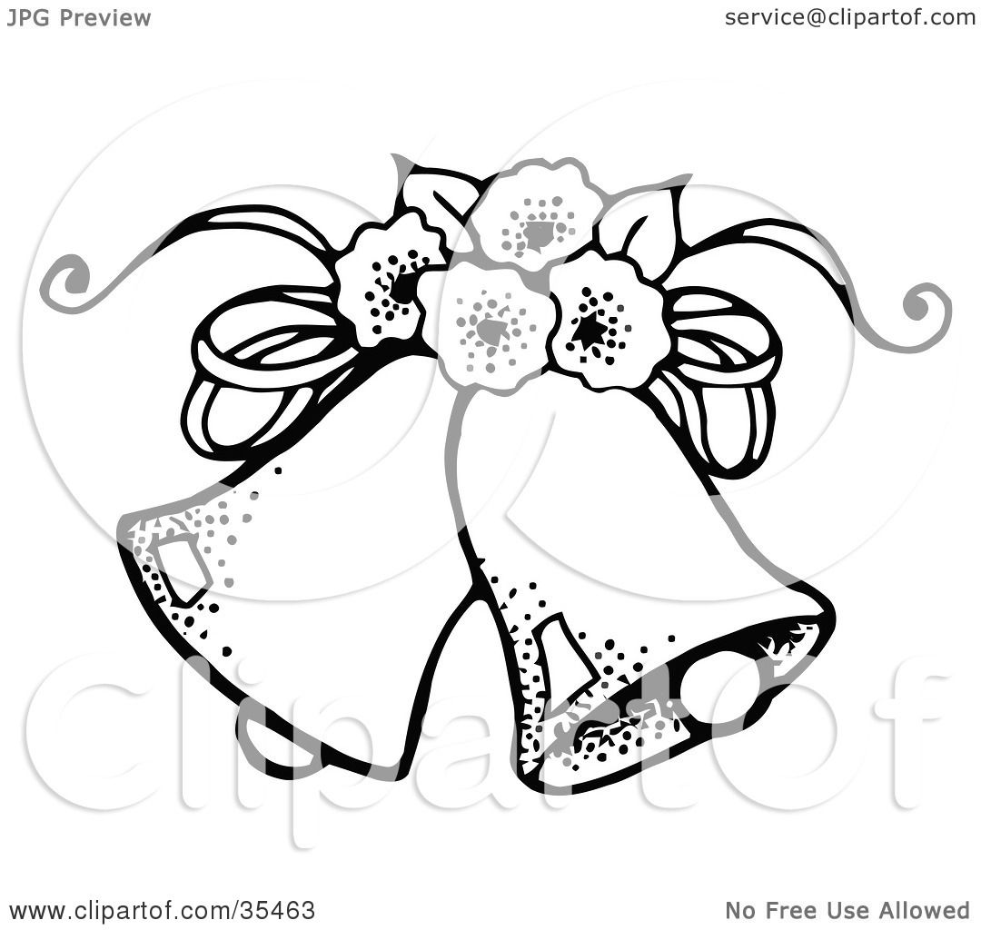 Clipart Illustration Of Two Wedding Bells With Flowers By