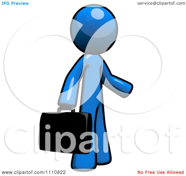 Clipart Job Seeker Blue Guy Carrying Briefcase - Royalty