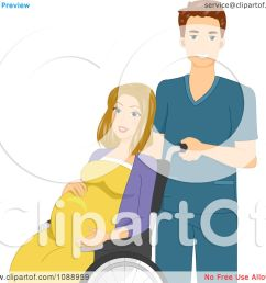 clipart male nurse pushing a laboring pregnant woman in a wheelchair royalty free vector illustration by bnp design studio [ 1080 x 1024 Pixel ]