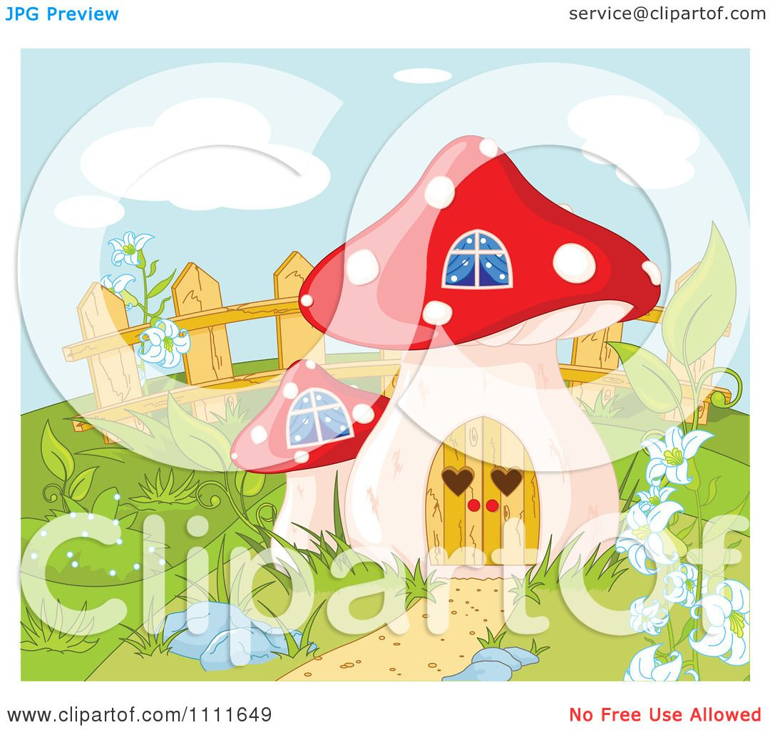 Clipart Mushroom House Gnome Home In A Garden - Royalty Free Vector Illustration by Pushkin #1111649