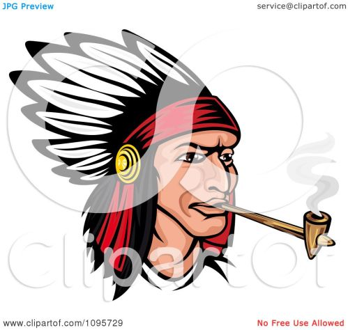small resolution of clipart native american indian chief wearing a feathered headdress and smoking a pipe royalty free