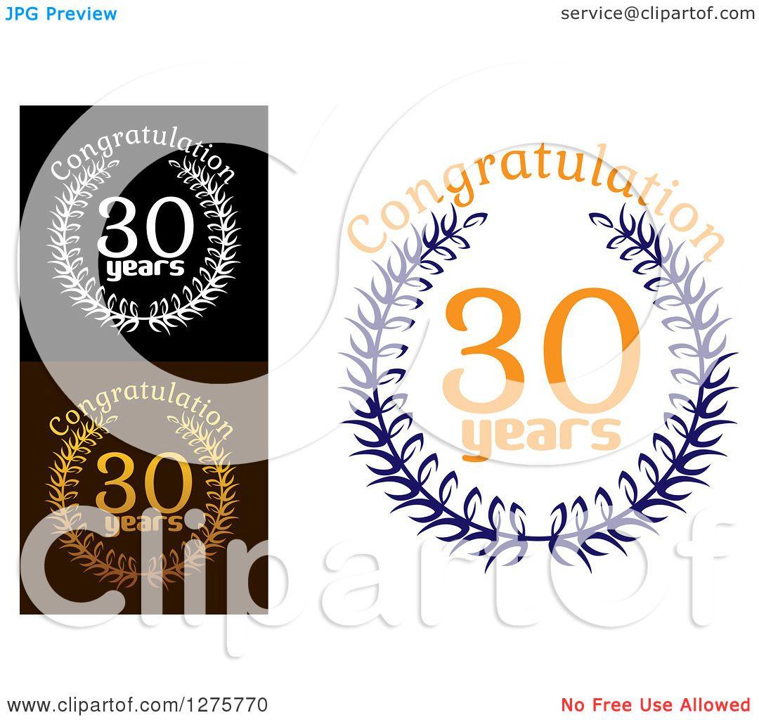 Download Clipart of 30 Years Laurel Wreath Anniversary Designs 8 ...