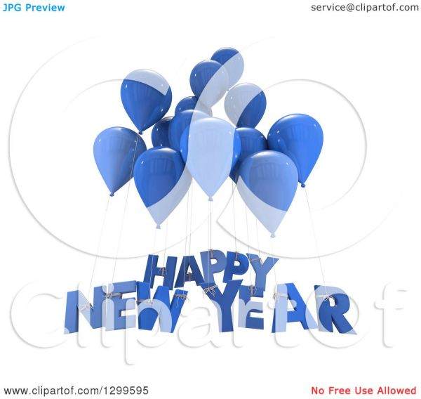 clipart of 3d blue party balloons