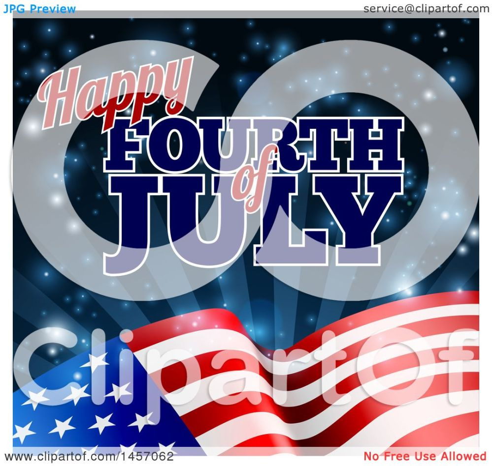 medium resolution of clipart of a 3d american flag and fourth of july text over rays and flares