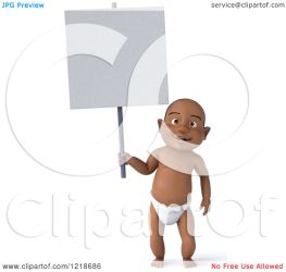 holding sign baby clipart standing boy illustration 3d royalty julos