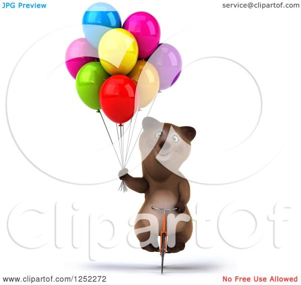 clipart of 3d brown bear riding