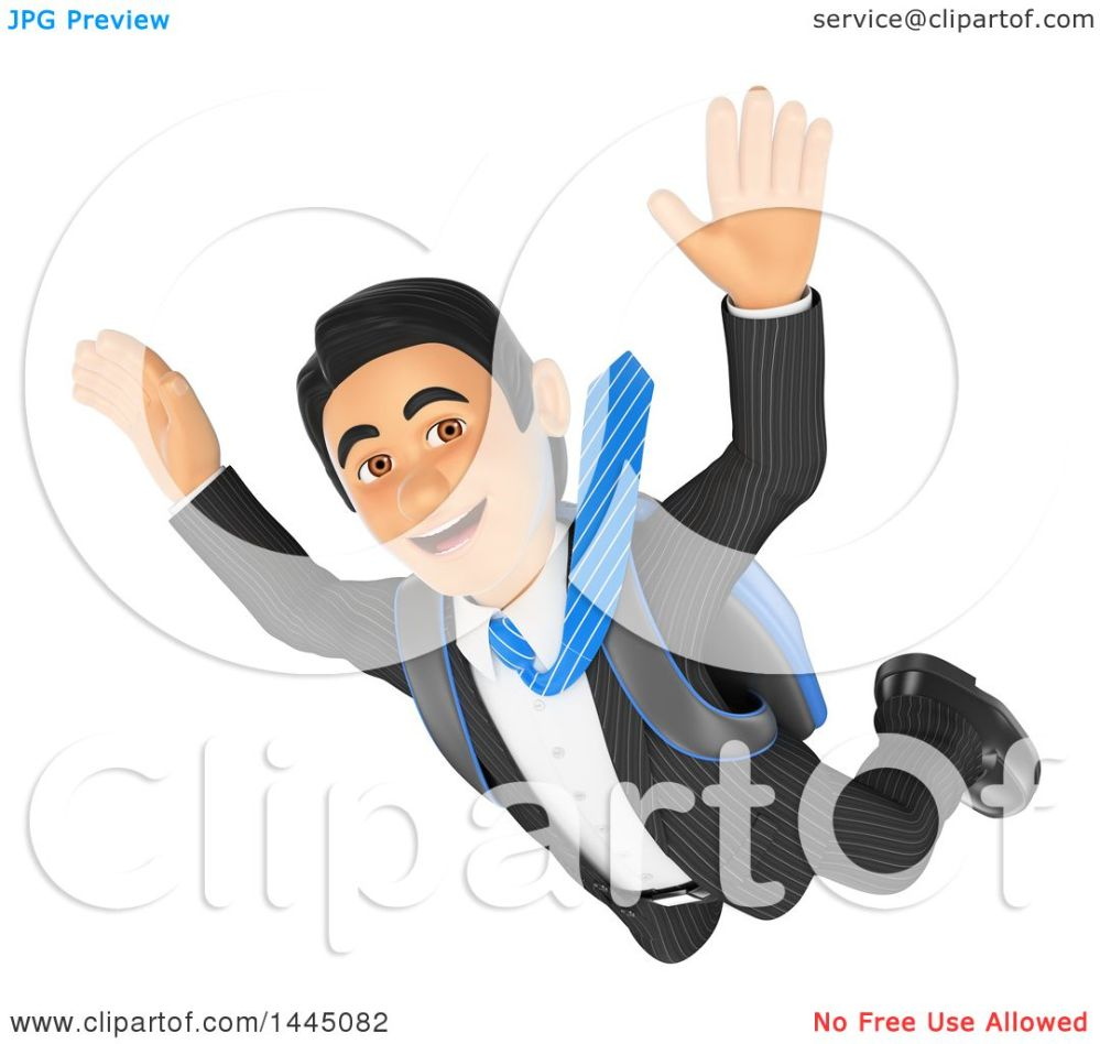 medium resolution of clipart of a 3d business man free falling while skydiving on a white background royalty free