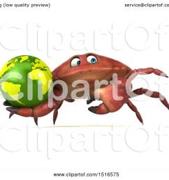 clipart of a 3d crab holding a globe on a white background royalty free illustration by julos [ 1080 x 1024 Pixel ]