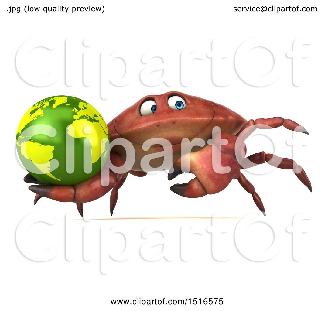 hight resolution of clipart of a 3d crab holding a globe on a white background royalty free illustration by julos