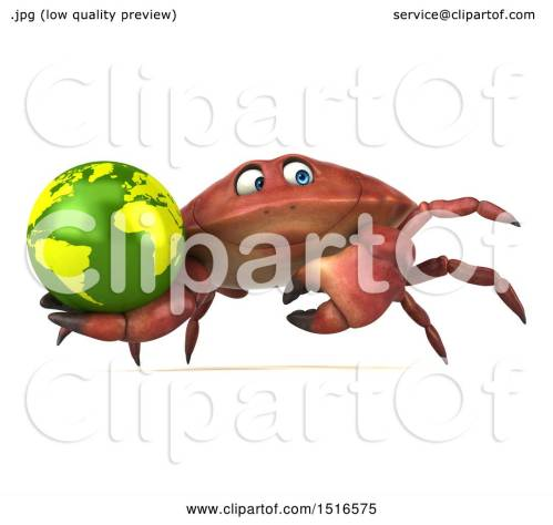 small resolution of clipart of a 3d crab holding a globe on a white background royalty free illustration by julos