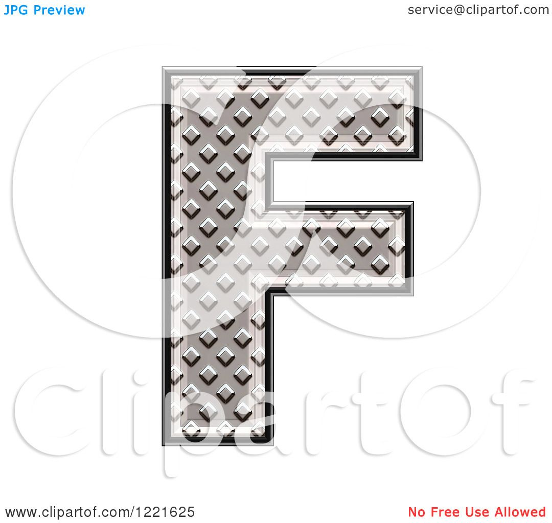 Clipart Of A 3d Diamond Plate Capital Letter F