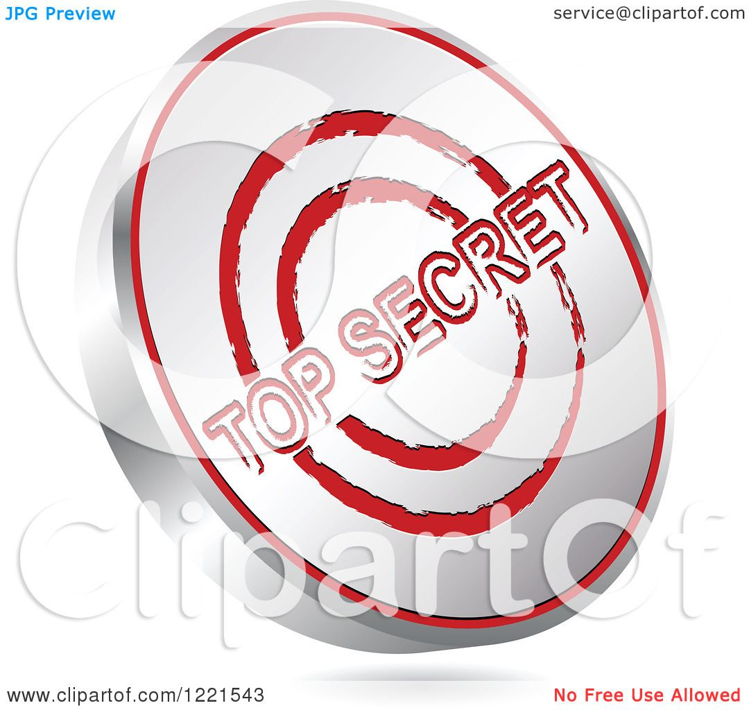 hight resolution of clipart of a 3d floating silver and red top secret icon royalty free vector illustration