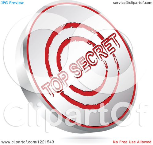small resolution of clipart of a 3d floating silver and red top secret icon royalty free vector illustration