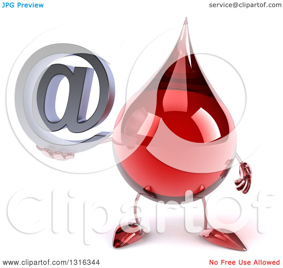 hight resolution of clipart of a 3d hot water or blood drop character holding an email arobase at symbol royalty free illustration by julos