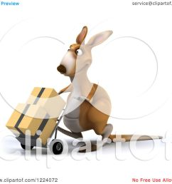 clipart of a 3d kangaroo moving boxes on a dolly royalty free illustration by julos [ 1080 x 1024 Pixel ]