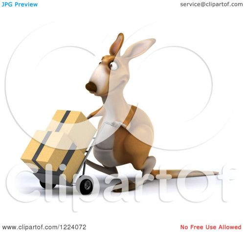 small resolution of clipart of a 3d kangaroo moving boxes on a dolly royalty free illustration by julos