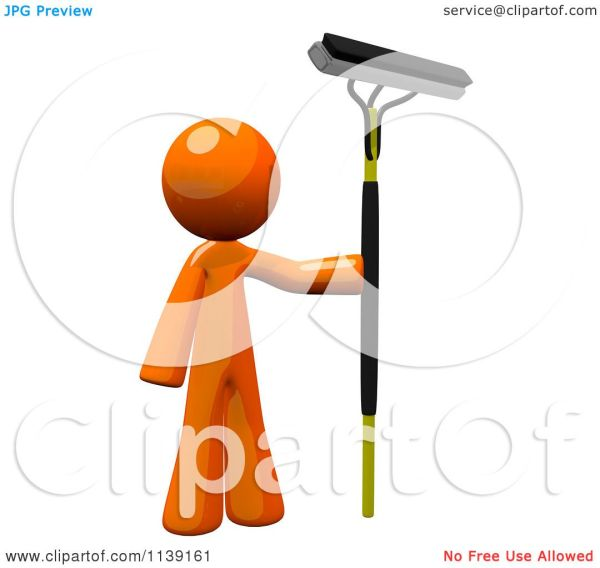 Clipart Of 3d Orange Man Window Cleaner - Royalty Free