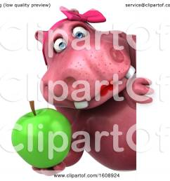 clipart of a 3d pink henrietta hippo holding an apple on a white background  [ 1080 x 1024 Pixel ]
