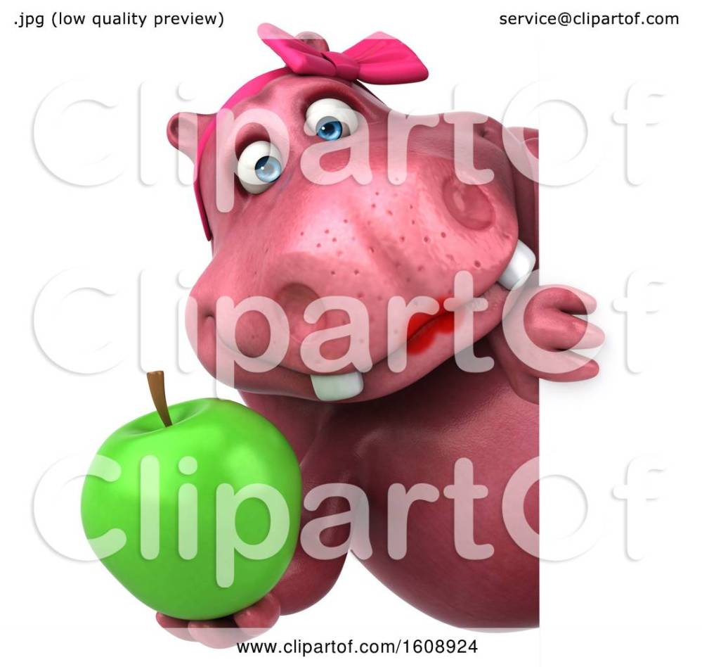 medium resolution of clipart of a 3d pink henrietta hippo holding an apple on a white background