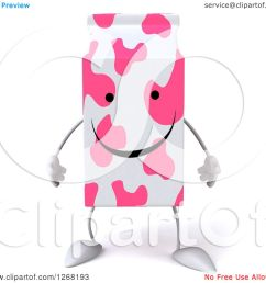 clipart of a 3d pink spotted strawberry milk carton character royalty free illustration by julos [ 1080 x 1024 Pixel ]
