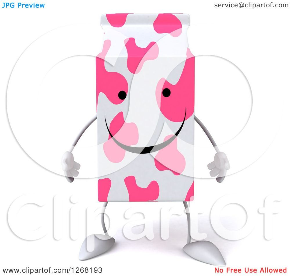 medium resolution of clipart of a 3d pink spotted strawberry milk carton character royalty free illustration by julos