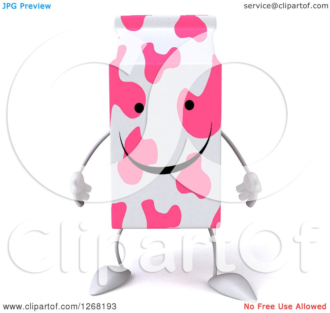 hight resolution of clipart of a 3d pink spotted strawberry milk carton character royalty free illustration by julos