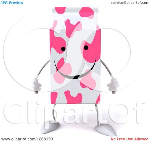 small resolution of clipart of a 3d pink spotted strawberry milk carton character royalty free illustration by julos