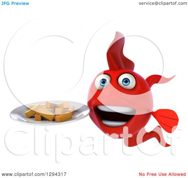 Clipart Of 3d Red Fish Holding Plate With French Fries