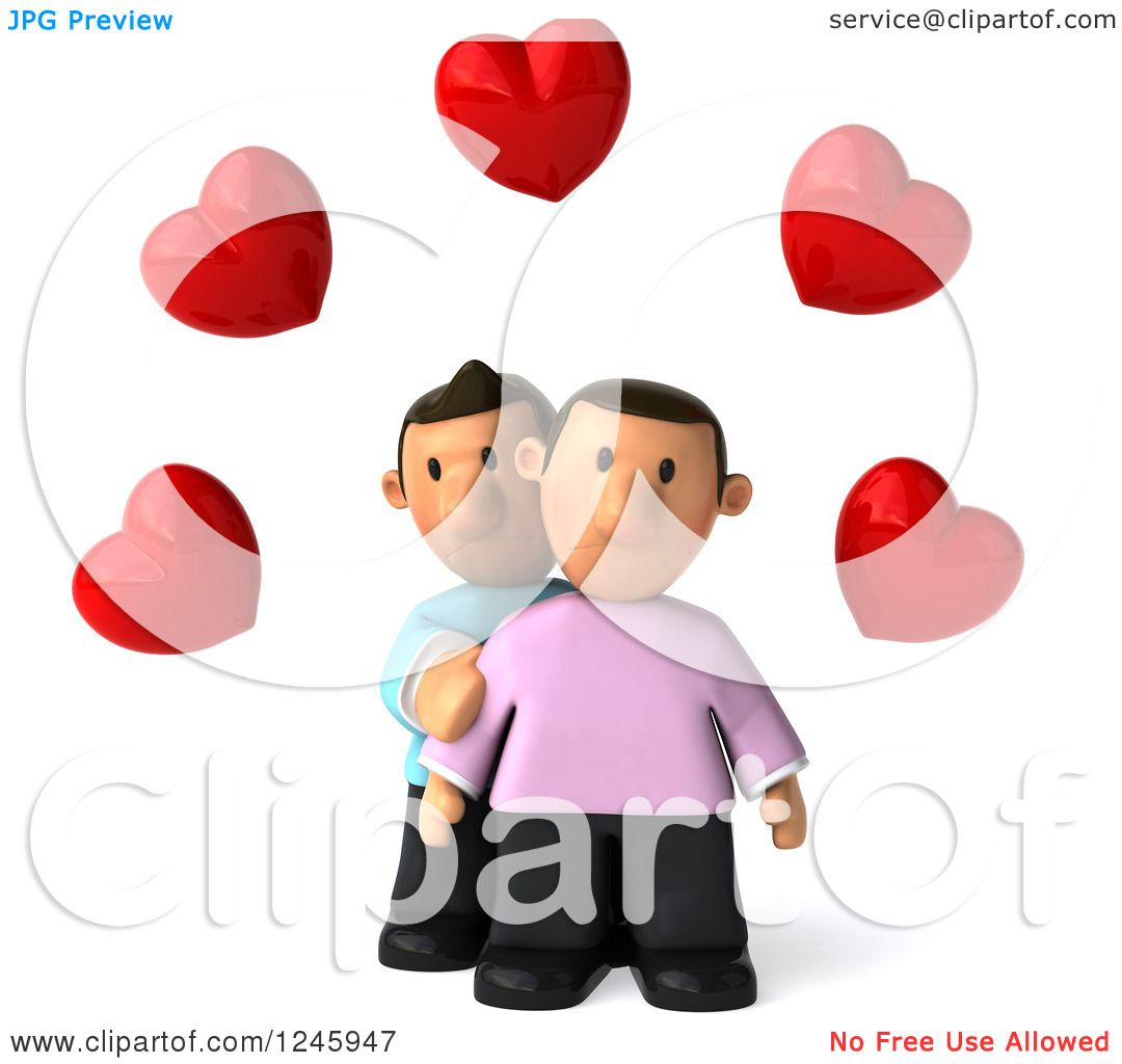 hight resolution of clipart of a 3d sad gay couple under hearts royalty free illustration by julos