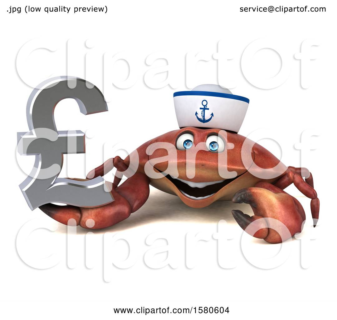 hight resolution of clipart of a 3d sailor crab holding a pound currency symbol on a white background royalty free illustration by julos