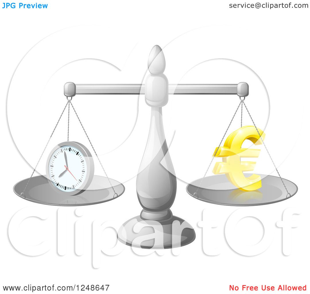 hight resolution of clipart of a 3d scales balancing time and money as a euro symbol royalty free vector