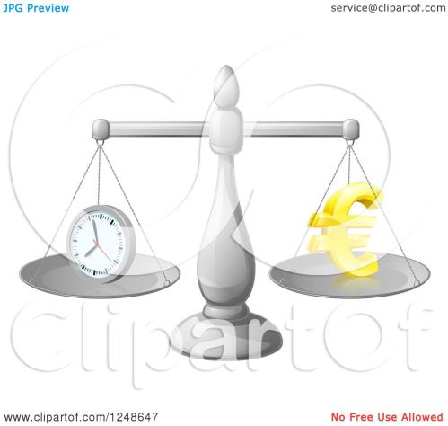 small resolution of clipart of a 3d scales balancing time and money as a euro symbol royalty free vector