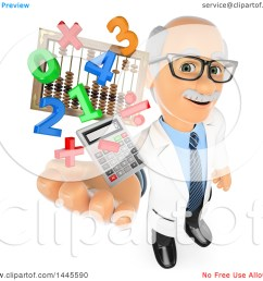 clipart of a 3d senior caucasian male math teacher holding up a calculator numbers symbols and an abacus on a white background royalty free  [ 1080 x 1024 Pixel ]