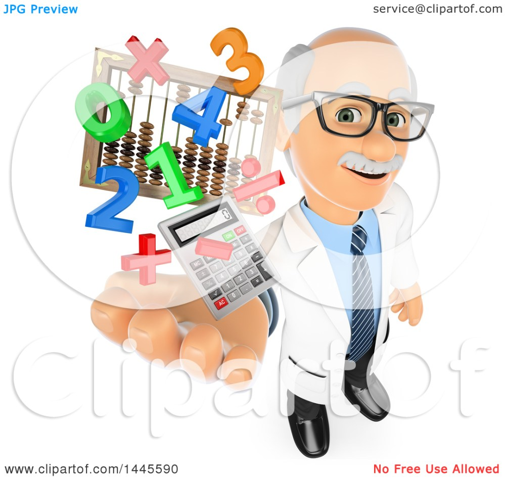 medium resolution of clipart of a 3d senior caucasian male math teacher holding up a calculator numbers symbols and an abacus on a white background royalty free