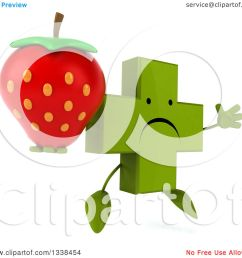 clipart of a 3d unhappy green naturopathic cross character facing slightly right jumping and holding a strawberry royalty free illustration by julos [ 1080 x 1024 Pixel ]