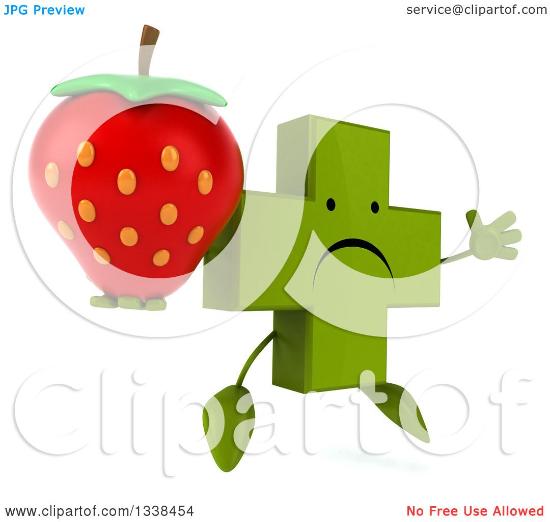 hight resolution of clipart of a 3d unhappy green naturopathic cross character facing slightly right jumping and holding a strawberry royalty free illustration by julos