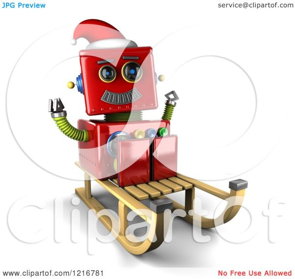 Clipart Of 3d Vintage Red Christmas Robot Sled