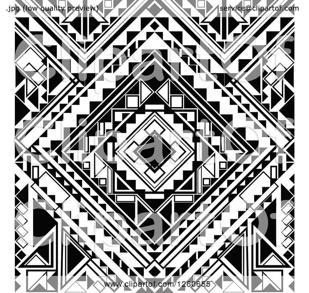 Clipart Of A Background Of Black And White Geometric Shapes