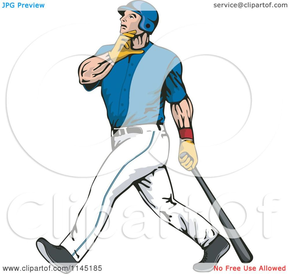 medium resolution of clipart of a baseball batter gazing after hitting a home run royalty free vector illustration by patrimonio