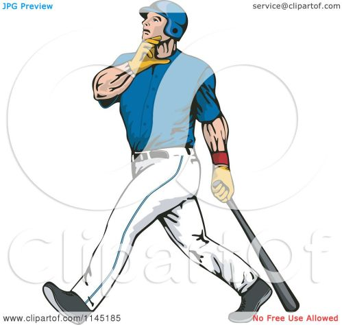 small resolution of clipart of a baseball batter gazing after hitting a home run royalty free vector illustration by patrimonio