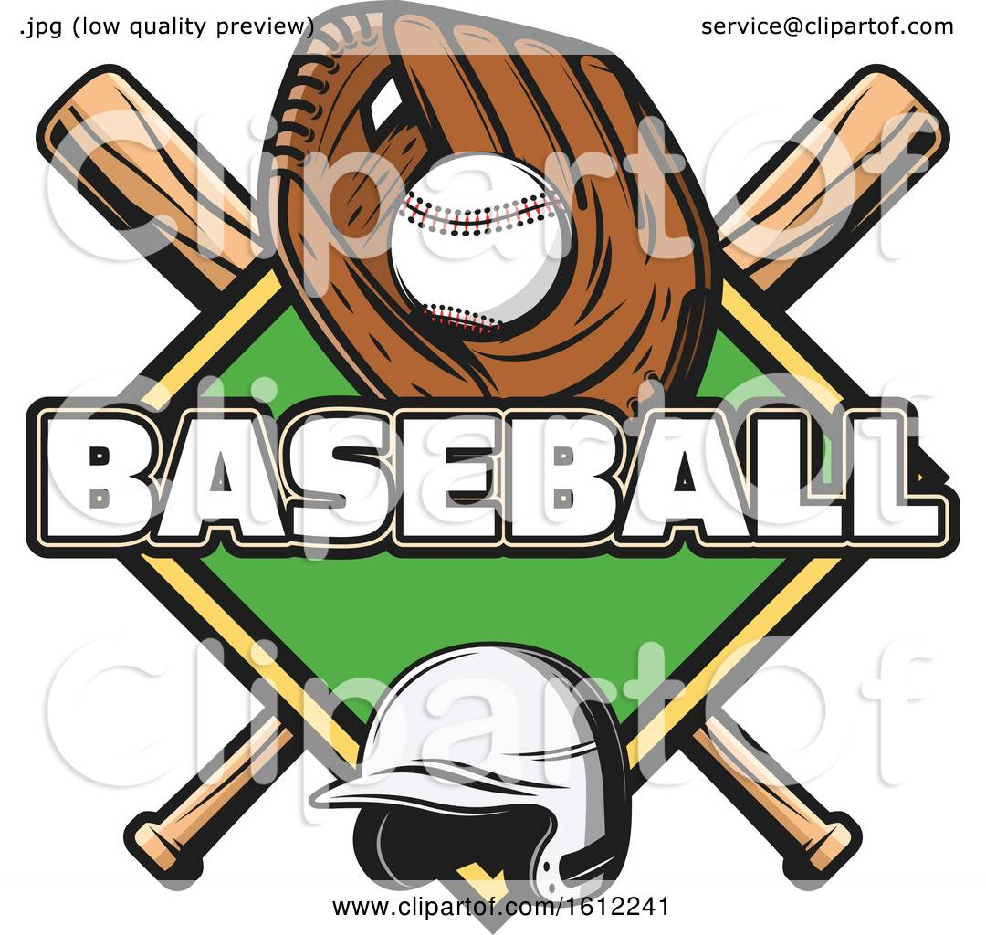 Download Clipart of a Baseball in a Glove over a Diamond and ...
