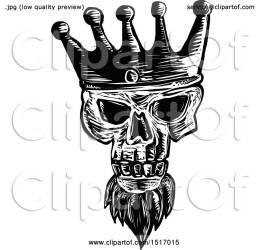 crown wearing skull bearded kings clipart royalty woodcut illustration vector patrimonio clip
