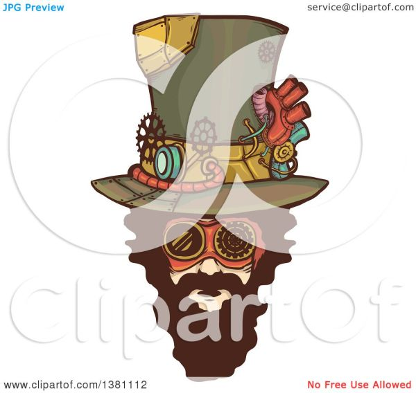 Clipart Of Bearded White Steampunk Mans Face Wearing