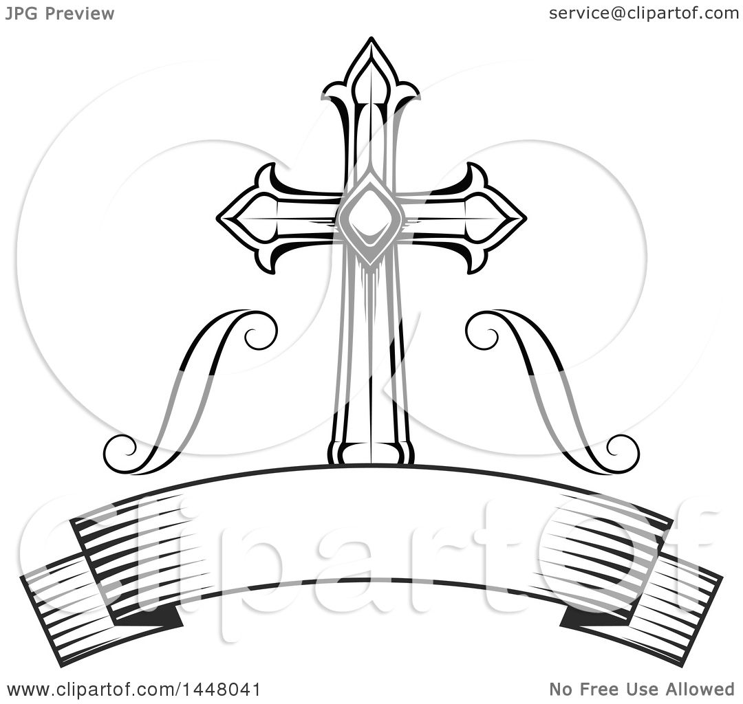 Clipart Of A Beautiful Black And White Easter Cross Over A