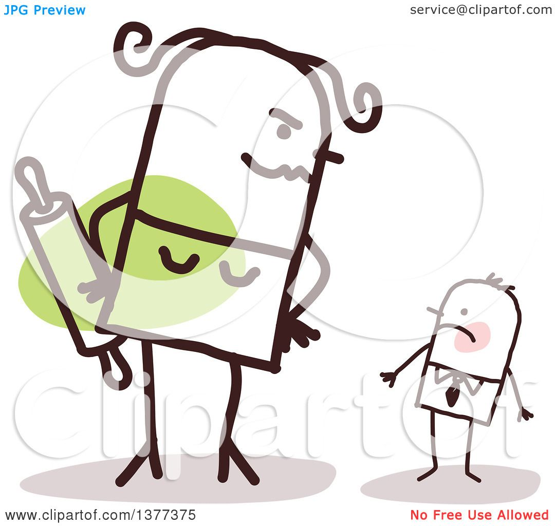 hight resolution of clipart of a big stick wife glaring at her small husband royalty free vector illustration