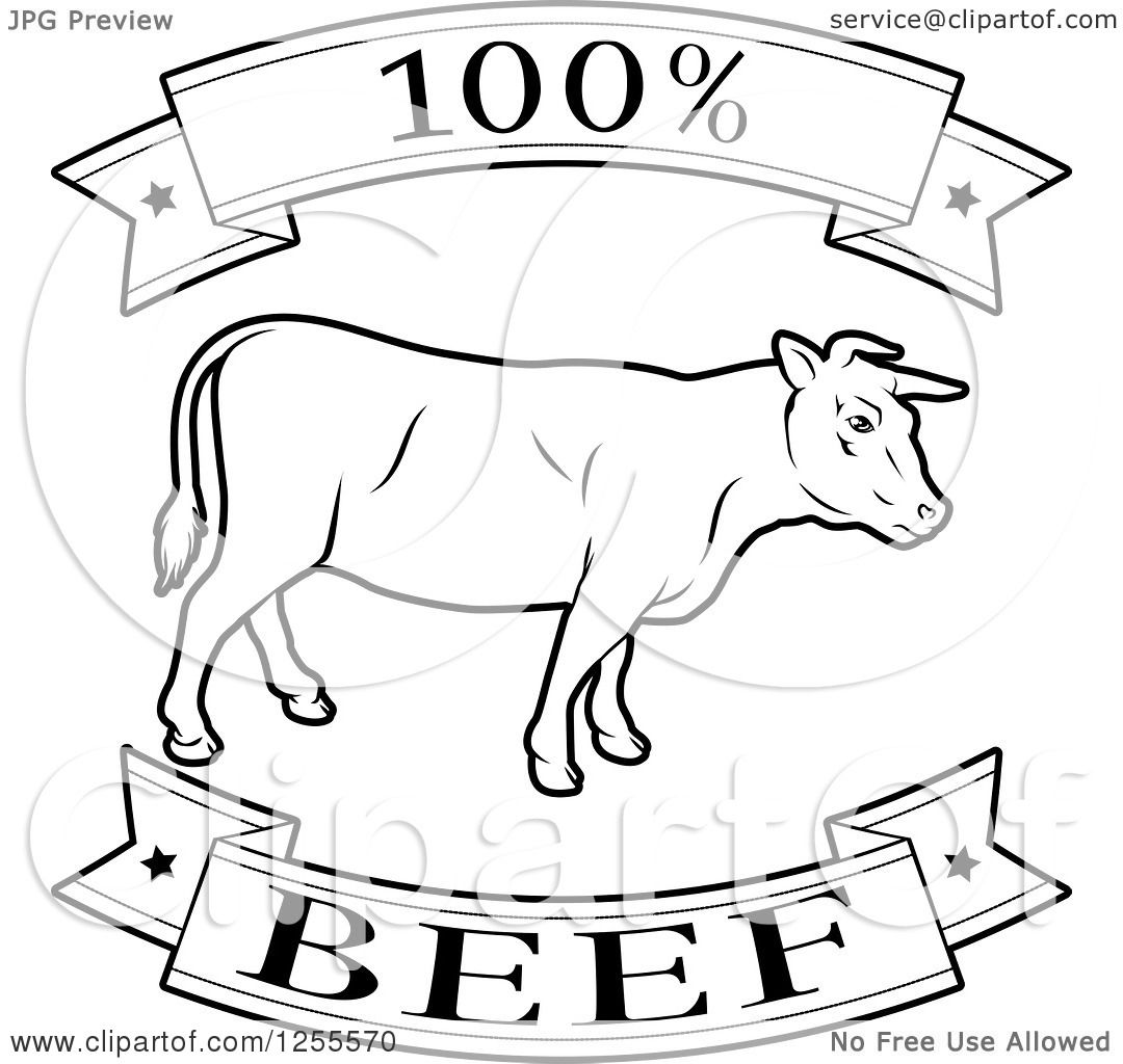 Clipart Of A Black And White 100 Percent Beef Food Banners