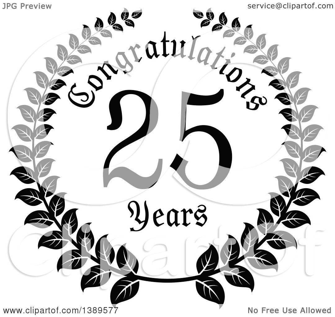 Clipart of a Black and White 25 Year Anniversary