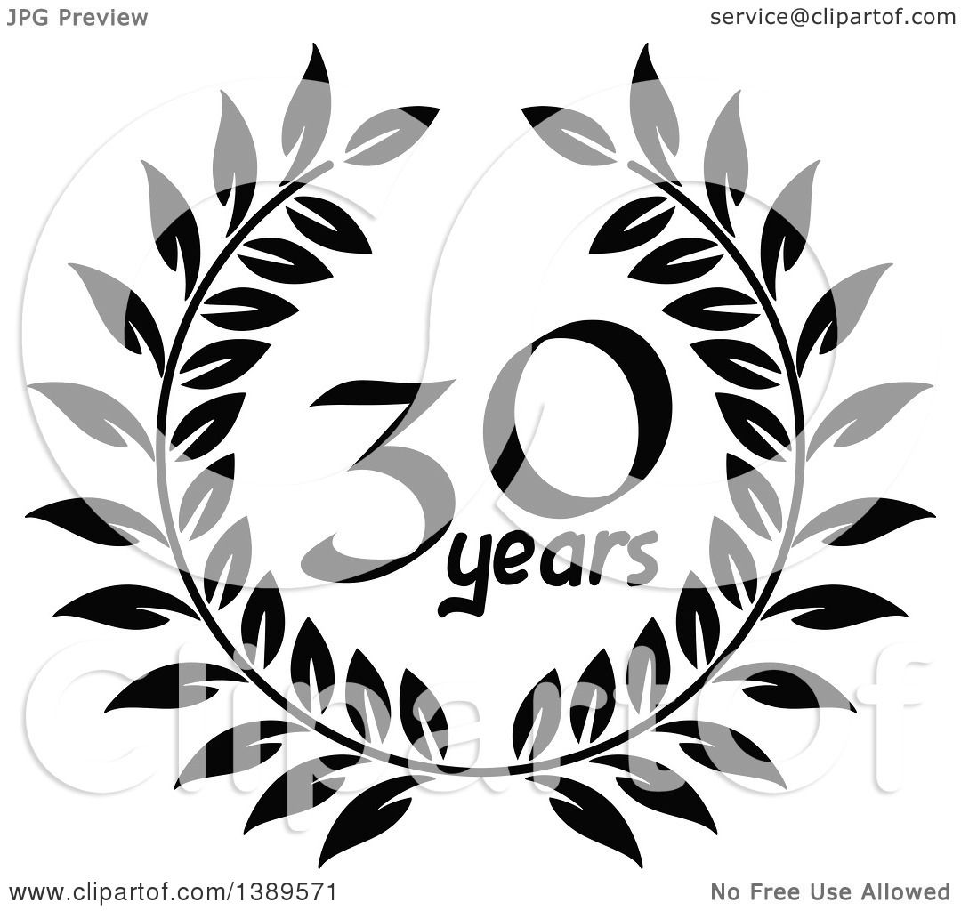 Download Clipart of a Black and White 30 Year Anniversary Wreath ...