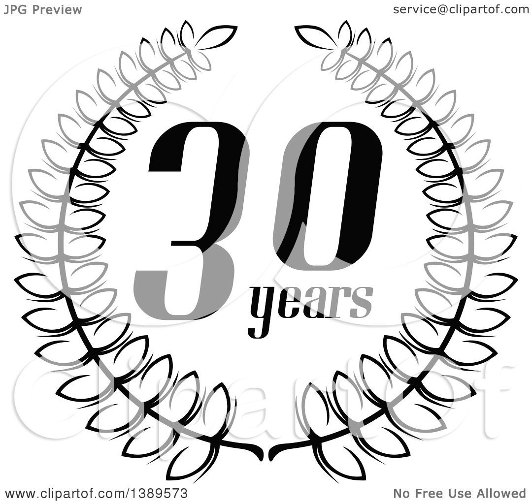 Clipart of a Black and White 30 Year Anniversary Wreath
