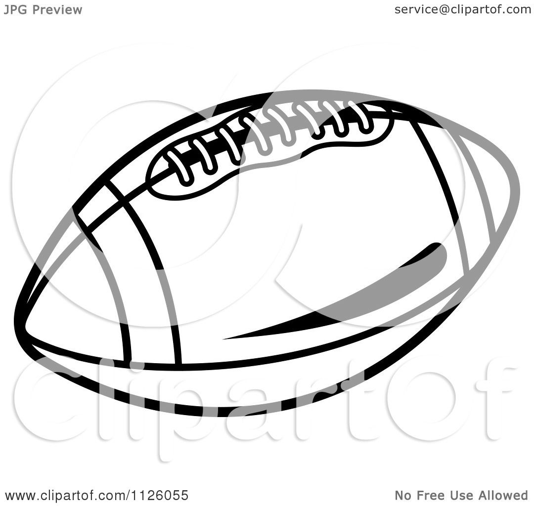 Clipart Of A Black And White American Football 2